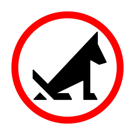 No dog pooping prohibition sign isolated on white. Vector illustration. Ilustração
