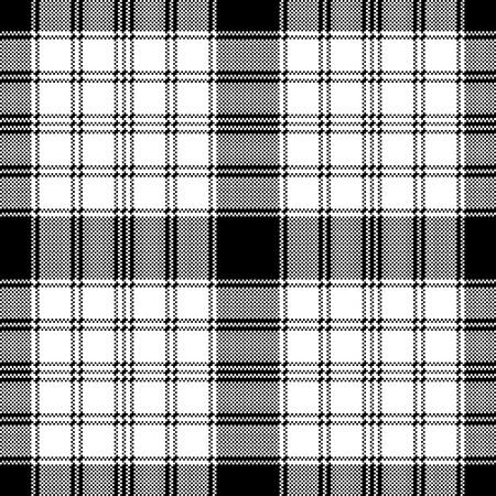 Pixel monochrome plaid seamless pattern. Vector illustration. Illustration
