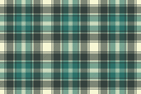 Green plaid fabric texture seamless pattern. Vector illustration.