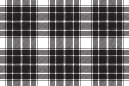 Black white classic check plaid seamless pattern. Vector illustration.