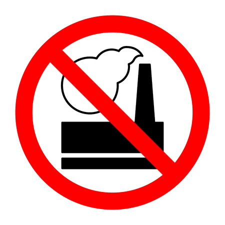 Plant air pollution into atmosphere stop forbidden prohibition sign. Vector illustration.
