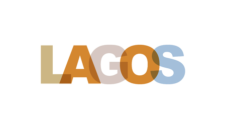 Lagos, phrase overlap color no transparency. Concept of simple text for typography poster, sticker design, apparel print, greeting card or postcard. Graphic slogan isolated on white background. Vector illustration.