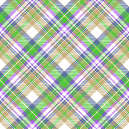 Color plaid fabric texture seamless pattern. Flat design. Vector illustration.