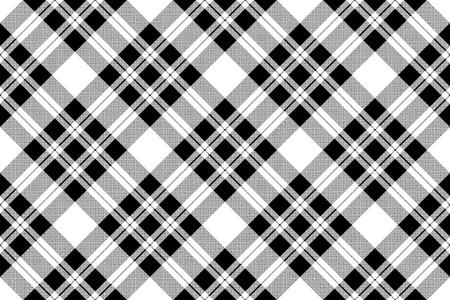 Pixel check fabric texture seamless black white pattern. Vector illustration. Vecteurs