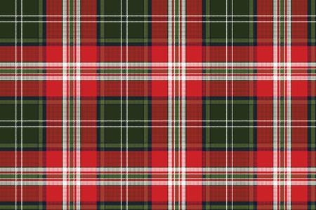 Red green plaid seamless fabric texture. Vector illustration. Ilustración de vector