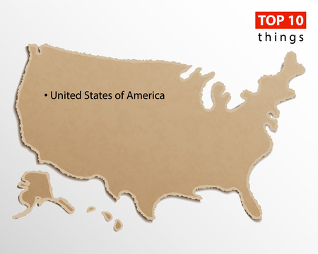 United States of America map vector. USA maps craft paper texture. Empty template information creative design element.