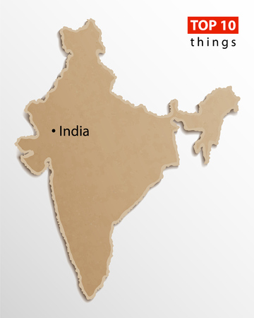India map on craft paper texture. Template for infographics. Creative travel and business concept. Vector illustration. Ilustrace