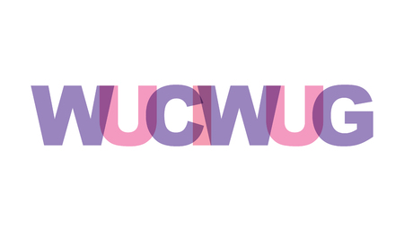 WUCIWUG, phrase overlap color no transparency. Concept of simple text for typography poster, sticker design, apparel print, greeting card or postcard. Graphic slogan isolated on white background. Vector illustration.