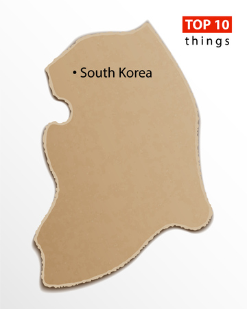 South Korea map vector. Korean maps craft paper texture. Empty template information creative design element.