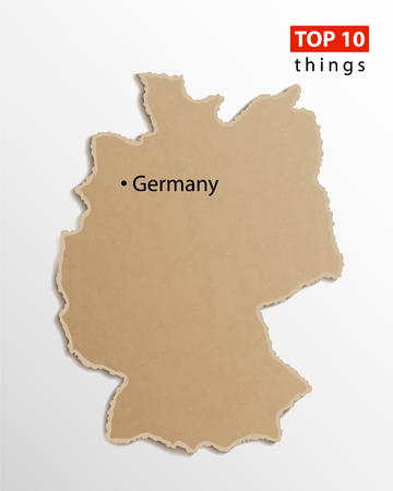 Germany map on craft paper texture. Template for infographics. Creative travel and business concept. Vector illustration. Çizim