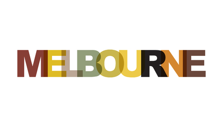 Melbourne, phrase overlap color no transparency. Concept of simple text for typography poster, sticker design, apparel print, greeting card or postcard. Graphic slogan isolated on white background. Ve