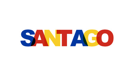 Santiago, phrase overlap color no transparency. Concept of simple text for typography poster, sticker design, apparel print, greeting card or postcard. Graphic slogan isolated on white background. Vec  イラスト・ベクター素材