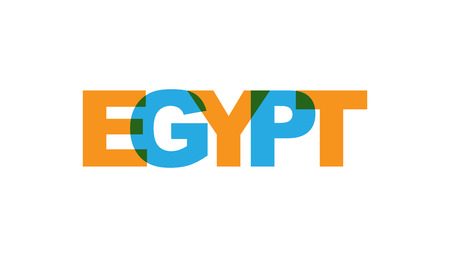 Egypt, phrase overlap color no transparency. Concept of simple text for typography poster, sticker design, apparel print, greeting card or postcard. Graphic slogan isolated on white background. Vector