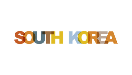 South Korea, phrase overlap color no transparency. Concept of simple text for typography poster, sticker design, apparel print, greeting card or postcard. Graphic slogan isolated on white background.