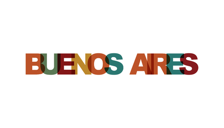 Buenos Aires, phrase overlap color no transparency. Concept of simple text for typography poster, sticker design, apparel print, greeting card or postcard. Graphic slogan isolated on white background.  イラスト・ベクター素材