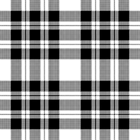 Pixel check fabric texture seamless black white pattern. Vector illustration.