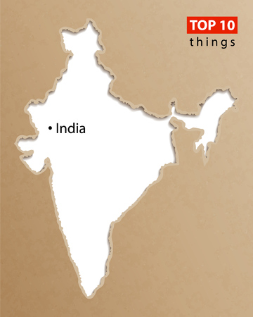 India map vector. Indian maps craft paper texture. Empty template information creative design element.