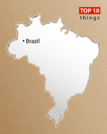 Brazil map vector. Brazilian maps craft paper texture. Empty template information creative design element.