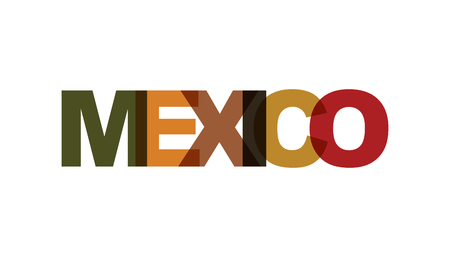 Mexico, phrase overlap color no transparency. Concept of simple text for typography poster, sticker design, apparel print, greeting card or postcard. Graphic slogan isolated on white background. Vector illustration. Banco de Imagens - 124610499