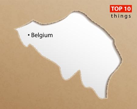 Belgium map vector. Belgian maps craft paper texture. Empty template information creative design element.