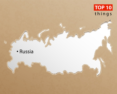 Russia map on craft paper texture. Template for infographics. Creative travel and business concept. Vector illustration. Reklamní fotografie - 124610508
