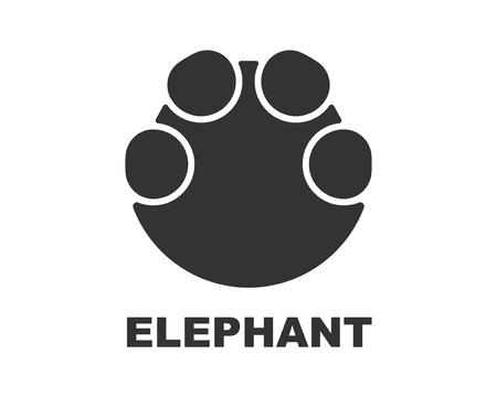 Elephant footprint icon, paw print Illustration