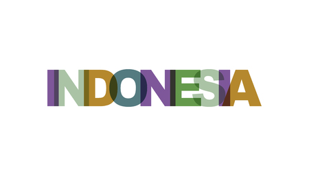 Indonesia, phrase overlap color no transparency. Concept of simple text for typography poster, sticker design, apparel print, greeting card or postcard. Graphic slogan isolated on white background. Vector illustration.