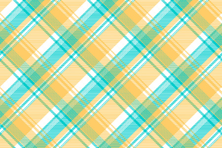 Blue yellow light color check tablecloth seamless pattern. Vector illustration. Çizim