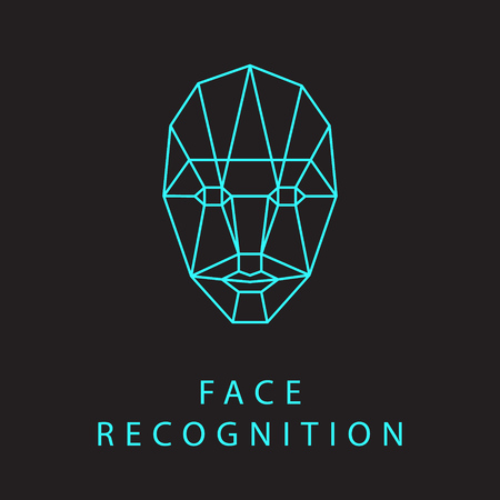 Icon of identity biometric verification sign. Face recognition system. Scanning grid tehnology vector symbol.