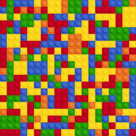 Vector de diseño plano de color plástico construcción bloque placa de patrones sin fisuras