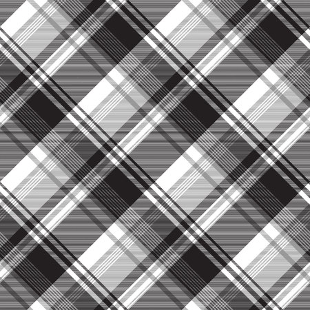 Grayscale black white check plaid seamless pattern. Vector illustration. Vetores