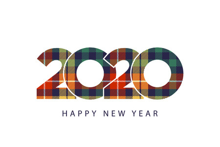 Color check plaid fabric texture 2020 happy new year. Vector illustration. Çizim