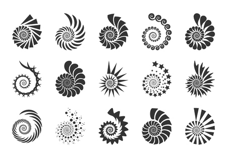Spiral vector design elements. Abstract lines black and white. Swirl background. Set icons.