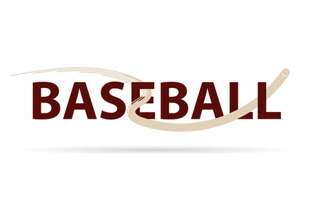 Baseball logo vector with fly ball symbol isolated on white background.