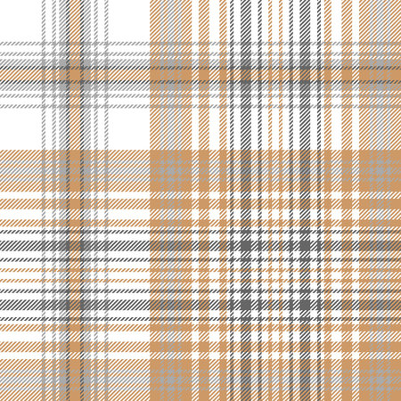 Gold and platinum color check plaid seamless pattern. Vector illustration.