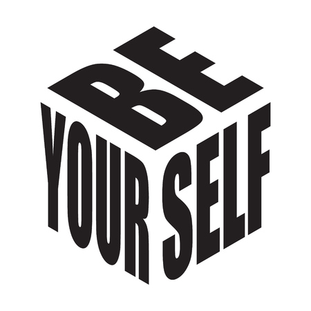 Be yourself. Simple text slogan t shirt. Graphic phrases vector for poster, sticker, apparel print, greeting card or postcard. Typography design elements isolated. Çizim