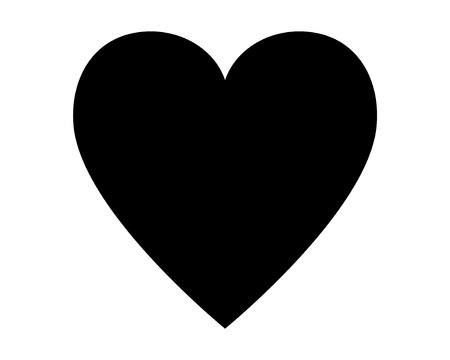Love heart vector icon black silhouette isolated on white background.