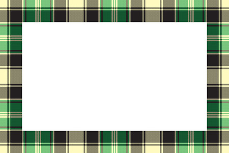 Border frame vector vintage background. Plaid pattern fabric texture. Tartan ribbon collage photo frames in retro style. Illustration