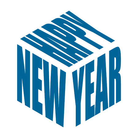 Happy new year, simple text slogan t shirt. Graphic phrases vector for poster, sticker, apparel print, greeting card or postcard. Typography design elements isolated.