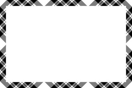 Border frame vector vintage background. Plaid pattern fabric texture. Tartan ribbon collage photo frames in retro style. Ilustracja