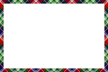 Border frame vector vintage background. Plaid pattern fabric texture. Tartan ribbon collage photo frames in retro style.  イラスト・ベクター素材