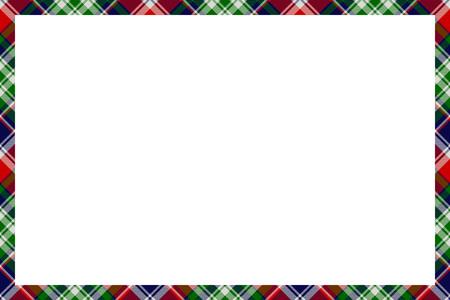 Border frame vector vintage background. Plaid pattern fabric texture. Tartan ribbon collage photo frames in retro style. Illustration