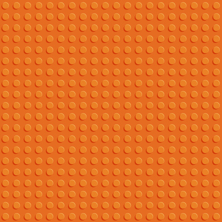 Orange plastic construction block plate seamless pattern flat design vector background