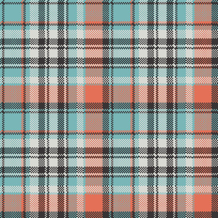 Geometric checkered plaid pixel seamless pattern. Vector illustration.