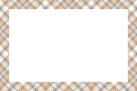 Border frame vector vintage background. Plaid pattern fabric texture. Tartan ribbon collage photo frames in retro style.
