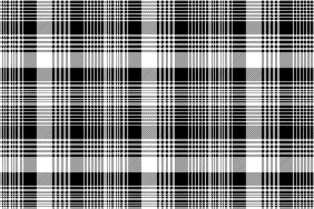 Black white plaid checked seamless pattern. Vector illustration. Ilustrace