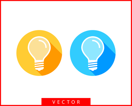 Light bulb icon vector. Llightbulb idea logo concept. Set lamps electricity icons web design element. Led lights isolated silhouette.