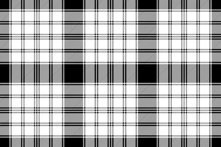 Black and white check diagonal texture plaid seamless pattern. Vector illustration.