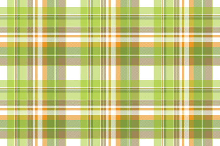 Green plaid fabric texture seamless pattern. Flat design. Vector illustration.