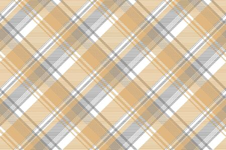 Gold silver color check fabric texture seamless pattern. Vector illustration.